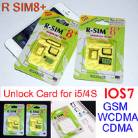 Wholesale Dual Sim Cdma Gsm - R-SIM8+ R SIM 8 + plus Dual sim unlock No need Jailbreak for ios7 iphone 5 iphone 4S iOS 7.0.3 Unlocking SUPPORT Nano 3G 128K WCDMA CDMA GSM