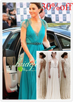 Wholesale Jenny Packham Green Lace Dress - Free Shipping 30% off Sexy V Neck Cap Sleeves Hunter Blue Evening Dresses Kate middleton Jenny Packham Green Celebrity Dresses
