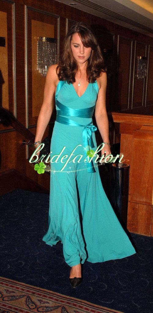 2014 New Red carpet dresses Jenny packham kate middleton dress Halter Neckline Crystal Evening Chiffon Formal Dresses