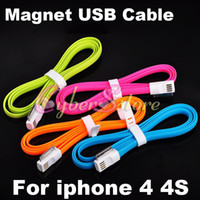 Wholesale Effecient amp Neat Magnet Flat Noodle USB Charger Cable For iphone S ipad G GS