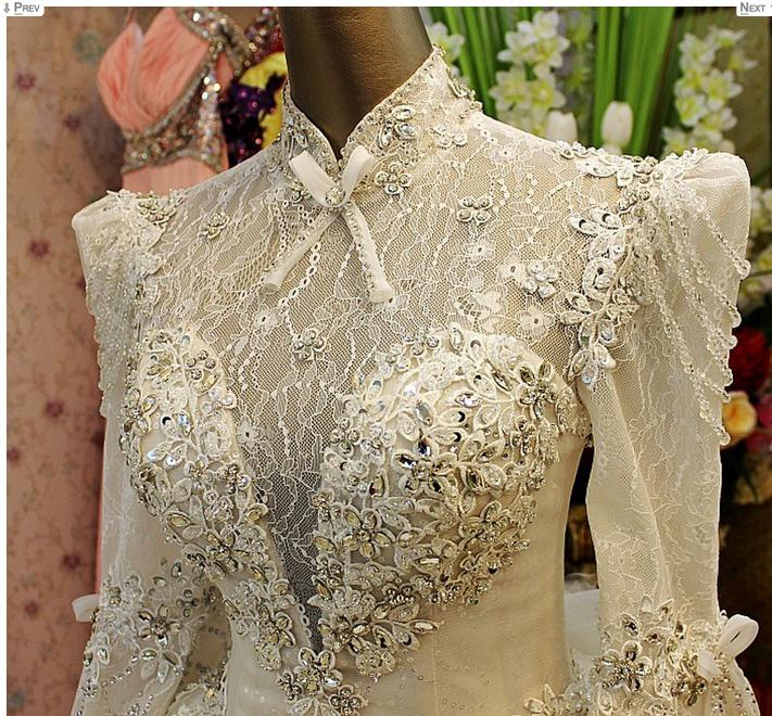 2019 New Luxury Crystals Wedding Dresses High Neck Appliques Beads Long Sleeve Sheer Back A Line Lace Tulle Customed White Bridal Gowns