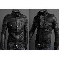 Wholesale Sexy Coat Men Slim - S5Q Men's Slim Fit Top Designed Sexy PU Leather Short Jacket Coat Long Sleeve AAACMZ