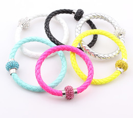 Wholesale Neon Bracelet Fluorescence - NEW PU Leather Crystal Ball Shamballa Magnetic Clasp Bracelet Cuff Fluorescence Neon Color Clasp Bracelet Bangle ZB51