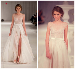 Wholesale Elie Wedding - Cheapest Elie Saab A-Line Wedding Dresses Sheer Scoop Runway White With Beading Floor-Length Bridal Gown Celebrity Dresses TK143