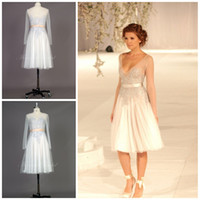 Wholesale Nudetulle Dress - Free Shipping 2014 Elie Saab Elegant Runway White NudeTulle Sexy V-neckline Embroidery Short Long Sleeves Bridal dress Celebrity Dress TK144