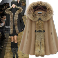 Wholesale Camel Winter - Winter Hot Raccoon Fur Hooded Woman Ponchos Outwear Coat Horn Buttoned Loose Woolen Coats Warm Coats Grey Camel Red S,M,L,XL HO1201