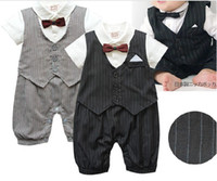 Wholesale Baby Dress Free Ems - EMS DHL Free Shipping Cute Casual Stripe Gentleman Waistcoat Boys Dress Romper 0-24M Baby Dress Rompers Toddler Infant Jumpsuits QZ06