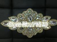 Wholesale Beaded Flower Embellishment - 10pcs lot Luxury Fashion Ab Crystal Rhinestone Embroidery Flower Patches Beaded Trimming Trim for Wedding Embellishment