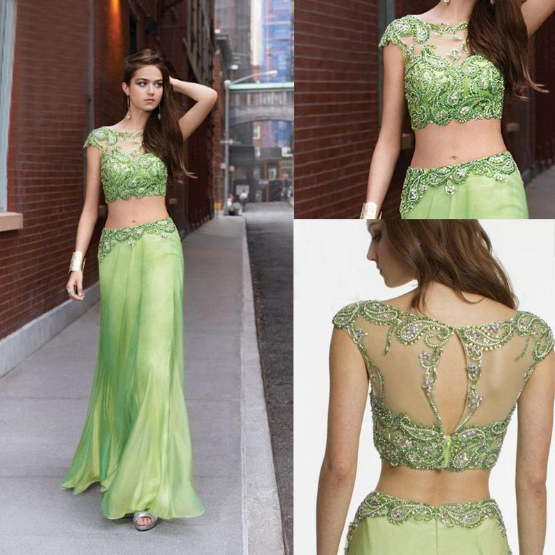 2014 Prom Dresses Two Piece Illusion Rhinestone Glistening Beading