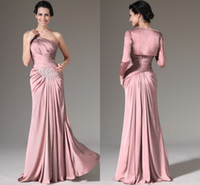 Wholesale One Shoulder Mothers Dress - Dusty Pink Mother Of The Bride Dresses One Shoulder Pleated Chiffon Floor Length Long Sleeves Mother Bride Dresses With Jacket