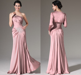 Wholesale One Dress Mother Bride - Dusty Pink Mother Of The Bride Dresses One Shoulder Pleated Chiffon Floor Length Long Sleeves Mother Bride Dresses With Jacket