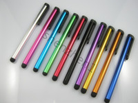 Wholesale Mini Styles Pen Iphone - Universal Cell Phone Capacitance Stylus Pen For iPhone 4 5 5S IPAD 3 4 Samsung Galaxy Android Mini Portable Colorful Styles Pens MOQ 1000pcs