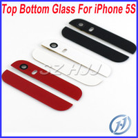 Wholesale Glass 5s Replacement Back - For iPhone 5S Top Bottom Glass Cover Replacement with Camera Lens and Flash Diffuser For Apple iPhone 5 S Back Housing