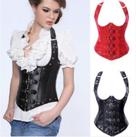 Wholesale Leather Basque Corset - Sexy Basque Leather Underbust Corset Waist Lace up Lingerie Rivet Hen Club New A1402 S--XXL
