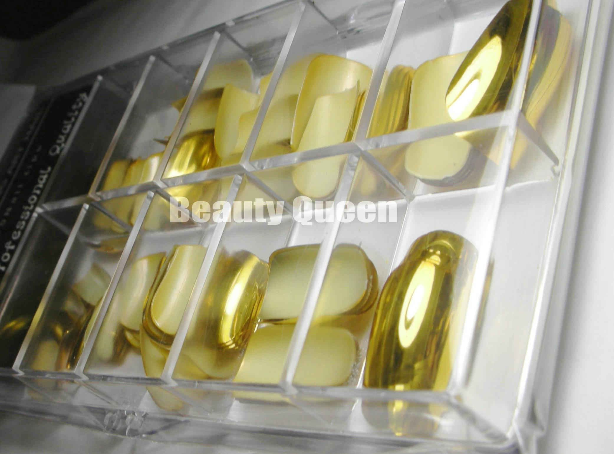 84Tips/Box, 12Sizes, Nail Art Gold Metallic Full Cover False Nail Tips French Acrylic Mirror Metal Affect Shining Nails