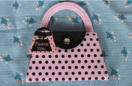 Wholesale Purse Favors - Vogue Pink Polka Purse Slippers Nail Care Personal Manicure & Pedicure Set, Travel & Grooming Kit Wedding Party Favors