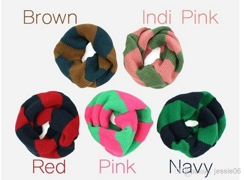 Fashion Baby Scarf Winter Warm Scarves Boy Girl Knitted Stripe Ring Scarves children's outdoor collar Wraps 4colors 1-8y Christmas Gifts