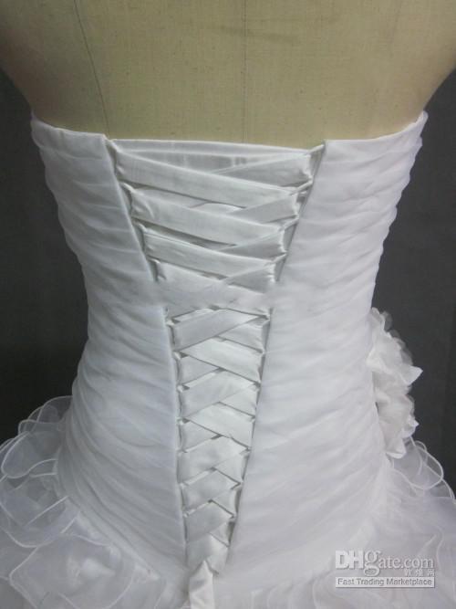 Al por mayor - Strapless Flower Ruffle Dropped Waist Fluffy Court Barato 2013 Sexy Beach Wedding Dresses Vestido de novia
