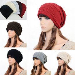 Wholesale Earflap Hat Adult - Trendy Unisex Earflap Skull Caps Soft Crochet Knitting Hip-hop Hats Oversize Baggy Hats Warm Keeping Beanie 6pcs lot DJK