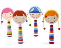 ручной встряхивающий барабан оптовых-Baby Lovely Girls Design Baby Деревянные солодки Барабан Красочные игрушки Рука Shaking Baby Ранние образовательные игрушки B2268