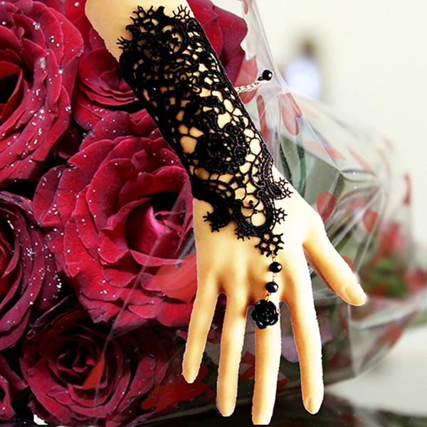 Luxury beautiful Bridal Gloves women accessories New Hot Sale Fashion White, black Pearl Lace Wedding Bride Bridal Gloves,Ring Bracelet