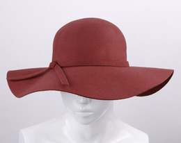 Chapeau D'été Écrasant Pas Cher-Mode femmes laine bowknot bande disquette chapeaux large bord série de la série frissonnable Summer Beach senti trilby Caps 3pcs / lot rouge DII3