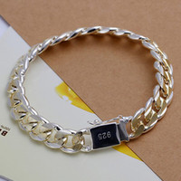 Wholesale Sterling Silver Beaded Bracelets - Free Shipping Noble hot sale 925 Sterling Silver gold plated pretty fashion jewelry MEN 10MM CHAIN bracelet best gift H091