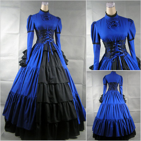 Victorian Gothic Corset Evening Dresses High Neck Long Sleeve Floor ...