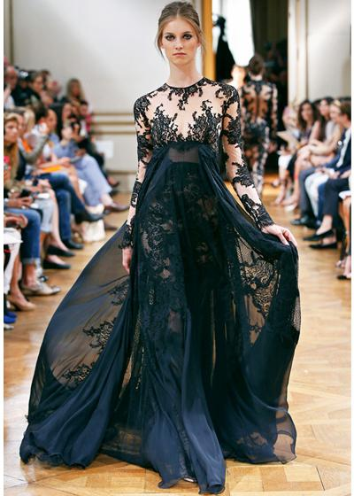 Demure Zuhair Murad Crew A Line Gray Chiffon Long Sleeve Lace Party Evening Prom Dresses For Special Occasion Custom Made