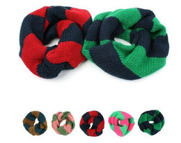 Wholesale Fashion Baby Scarf Winter Warm Scarves Boy Girl Knitted Stripe Ring Scarves children s outdoor collar Wraps colors Christmas Accessories