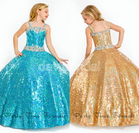 Wholesale Spaghetti Strap Dress Shining - Shining Crystal Bead Full Sequin Little Girl Pageant Dresses Lovely Flower Girl Dress Spaghetti Straps Birthday Party Gowns With Sash