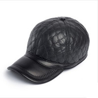 Wholesale Dome Skin - Sheep skin baseball cap men leisure genuine leather hat top quality winter and fall men hat with ear protection inside