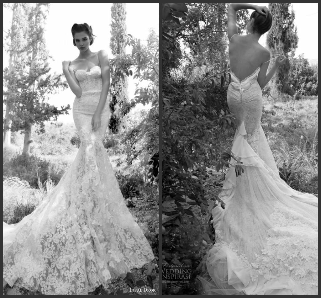 Inbal Dror Wedding Gowns: Inbal Dror 2014 Gorgeous Sexy Top Lace Long Train Backless