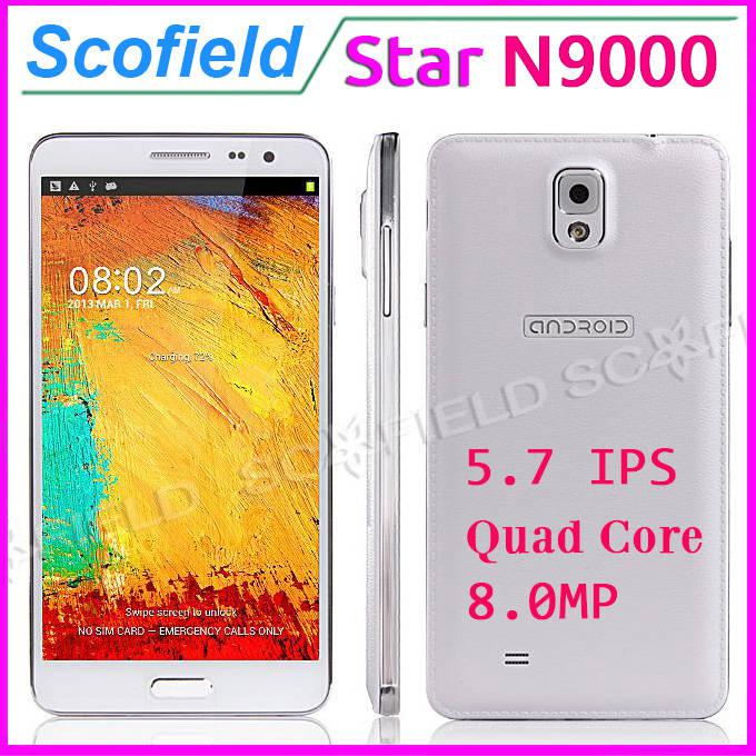 Star N9000 Note 3 Note III IPS HD Screen MTK6582 Quad Core Android Cell Phone 1G RAM 8G ROM 8.0MP Camera 3G GPS Android 4.2