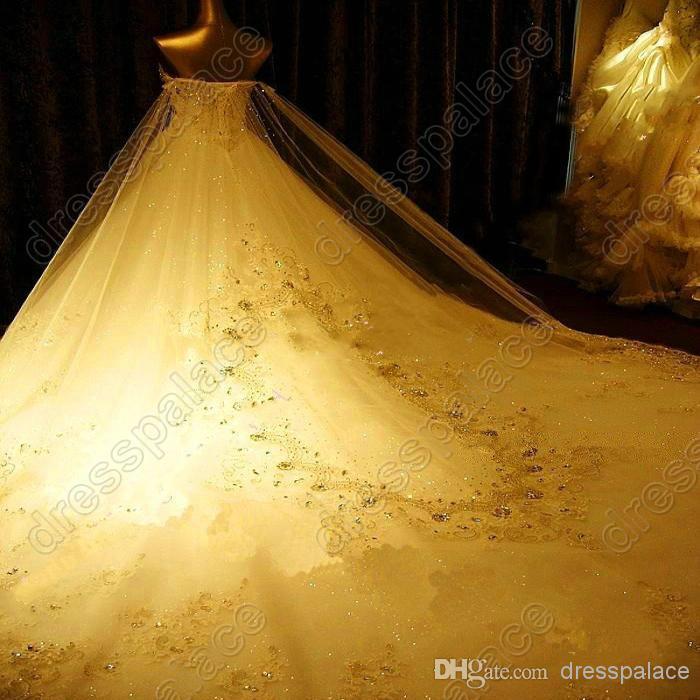 2014 Newest Romantic key-2 Luxury bride dress crystals cathedral wedding Veil PETTICOAT Glove