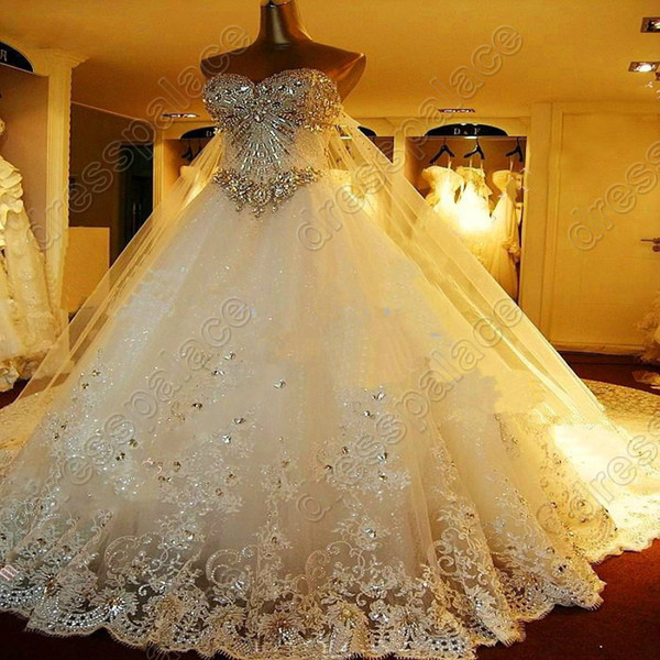 2014 Newest Romantic key-2 Luxury bride dress crystals cathedral wedding Veil PETTICOAT Glove Free shipping