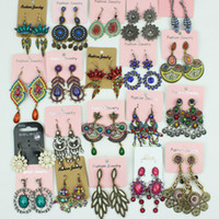 Wholesale Earrings Dangle Mixed - Colorful Vintage earrings Bohemian mixed order Fashion jewelry 12pairs lot