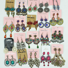 Wholesale Dangles Earring - Colorful Vintage earrings Bohemian mixed order Fashion jewelry 12pairs lot
