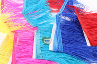 Wholesale Ostrich Feathers Yard - Free Shipping-10 yards lot Bright Yellow pink royal blue Turquoise red purple whiteh black ostrich feather trimming fringe feather fringe