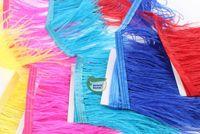 zierfedern lila großhandel-Freies Verschiffen-10 Yards / lot Heller gelber rosa königsblaue Türkis rote purpurrote whiteh schwarze Straußfeder-Zutat-Fransenfeder Franse