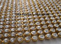 einstellungen für kristalle großhandel-Großhandel-120cm (46 Zoll) lang 24Rows Breite Diamond Ribbon Trim mit 3mm klaren Steinen auf Goldeinstellungen Strass Kristall Bling-Besatz