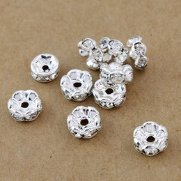 Wholesale Diy Metal Spacers - Free shipping Fashion DIY 6MM,1000pcs,Silver plated, Jewelry Findings & Accessories(B Rhinestone) beads Spacers HOT