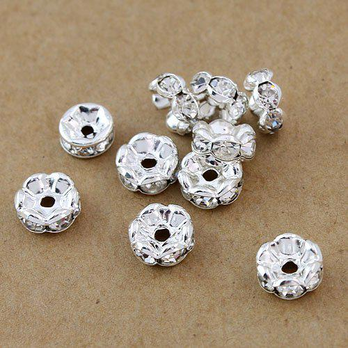 top popular Free shipping Fashion DIY 6MM,1000pcs,Silver plated, Jewelry Findings & Accessories(A Rhinestone) beads Spacers HOT 2021