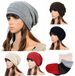 Wholesale Wholesale Stylish Winter Hats - Simple And Stylish Design Crochet Beanie Unisex Winter Warm Plicate Baggy Knit Ski Hat Oversized Slouch Lover Cap C1146