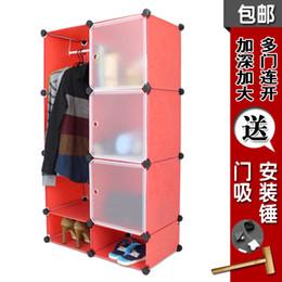 Wholesale Diy Plastic Simple Wardrobe - Diy cabinet simple wardrobe folding wardrobe storage cabinet thickening steelframe