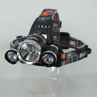 Wholesale Led Headlight Lamps - 5000Lumen 3x CREE XM-L T6 LED Headlight Light Headlamp Flashlight Head Lamp 18650 Free Shipping