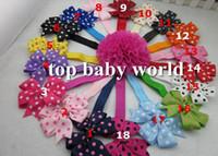 "Wholesale Children Headband Design Ribbon - new design 54pcs lot 3"" Grosgrain ribbon Polka dots bows headband hairband kids' hair accessories children accessories"