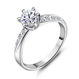 Wholesale Exquisite Platinum Plated Ring - Luxury Exquisite noble Platinum Plated sterling silver Lovers Ring cute Austria Crystal Free Shipping J048