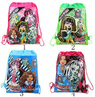 Wholesale Free Draw Cartoons - Free shipping Fashion personality MONSTER HIGH girl Environmental Draw string children School bag backpack