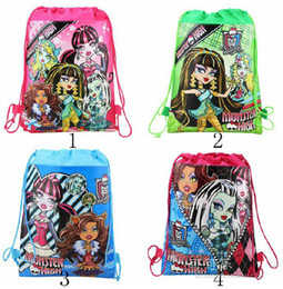 Wholesale Canvas Backpack Wholesale Children - Free shipping Fashion personality MONSTER HIGH girl Environmental Draw string children School bag backpack